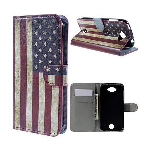Moberg Acer Liquid Z530 Nahkakotelo Korttitaskuilla Vanhanaikainen Amerikan Lippu