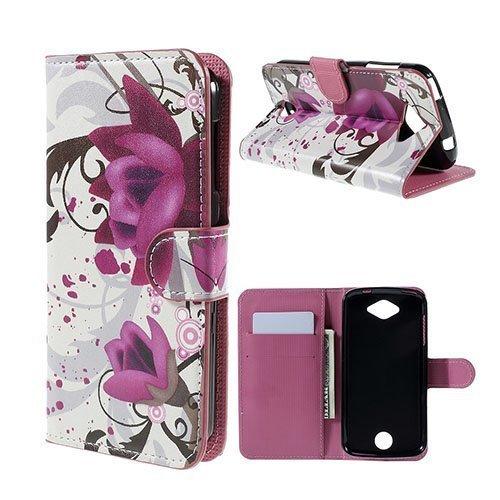 Moberg Acer Liquid Z530 Nahkakotelo Korttitaskuilla Violetteja Kukkia