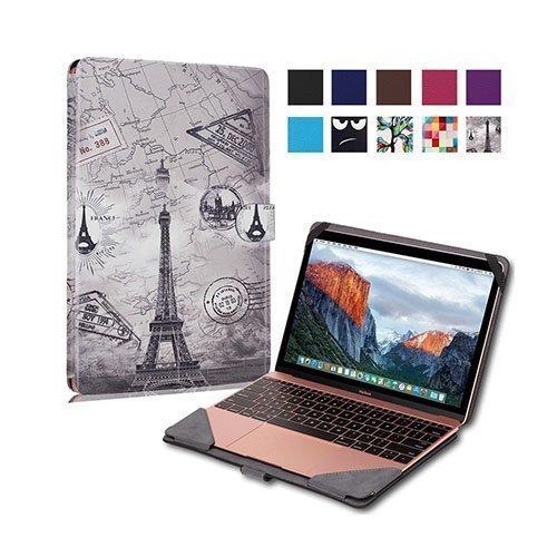 """Moberg Apple Macbook 13.3"""" Taittuva Pu Nahkakotelo Eiffel Torni Ja Kartta"""