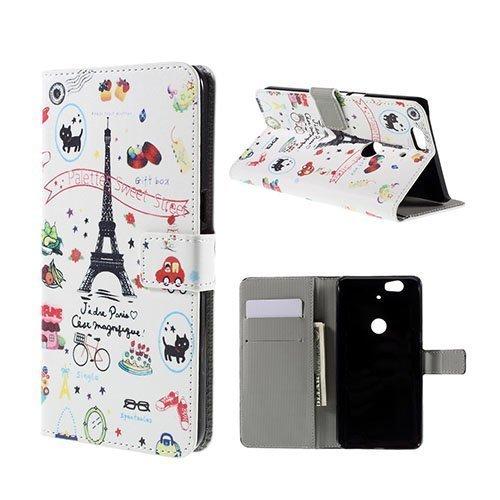 Moberg Google Nexus 6p Nahkakotelo Eiffel Torni Ja Hedelmiä