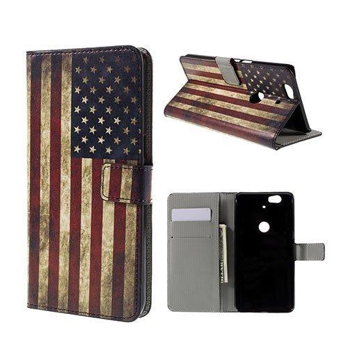 Moberg Google Nexus 6p Nahkakotelo Vanhanaikainen Amerikan Lippu