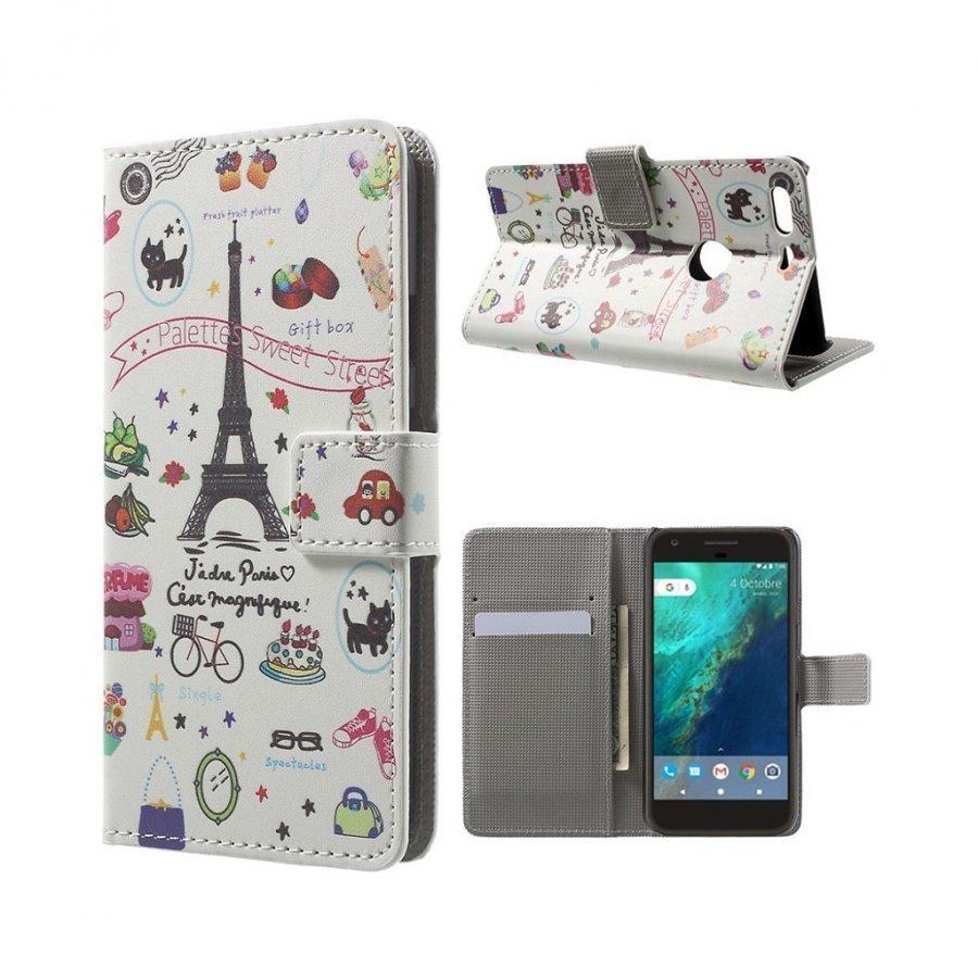 Moberg Google Pixel Nahkakotelo Lompakko Hedelmät Ja Eiffel Torni