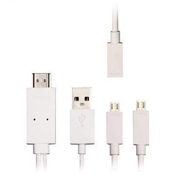 Mocreo MicroUSB / HDMI MHL Kaapeliadapteri Valkoinen