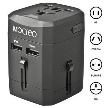 Mocreo Yleiskäyttöinen Kaksois-USB Matkalaturi EU AU UK US Musta