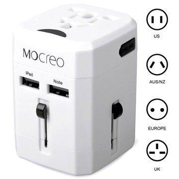 Mocreo Yleiskäyttöinen Kaksois-USB Matkalaturi EU AU UK US Valkoinen