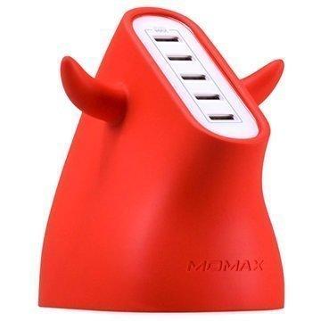 Momax U.Bull Erittäin Nopea USB Laturi 5-Porttinen Punainen