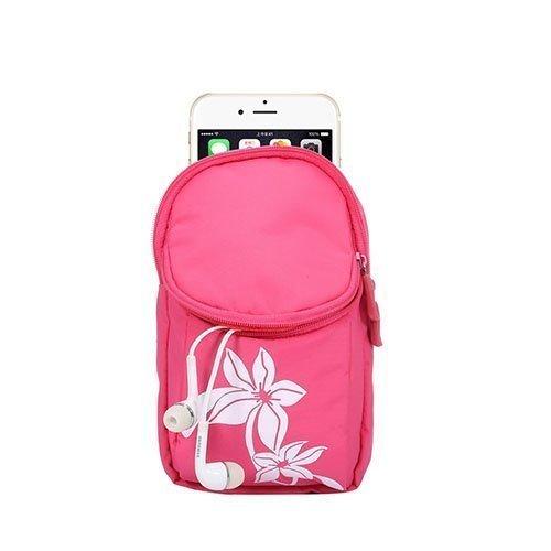 Monikäyttöinen 2-Osastoinen Käsihina Laukku Älypuhelimille Pinkki