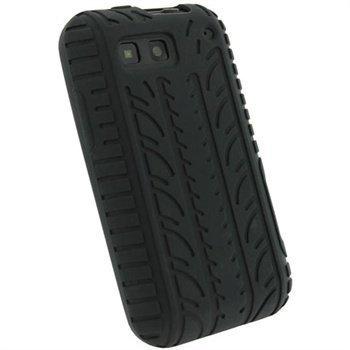 Motorola Defy Defy+ iGadgitz Tyre Tread Design Silicone Case Black
