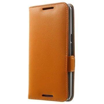Motorola Nexus 6 Doormoon Nahkainen Lompakkokotelo Oranssi