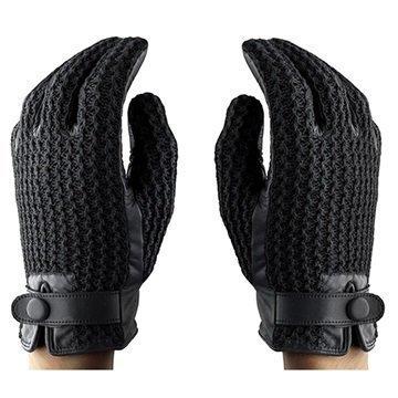 Mujjo Leather Crochet Kosketusnäyttösormikkaat M Musta