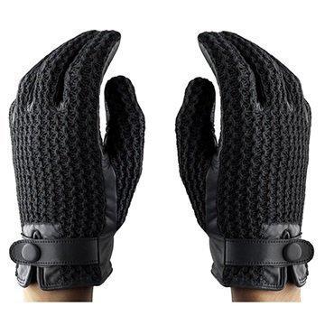 Mujjo Leather Crochet Kosketusnäyttösormikkaat S Musta
