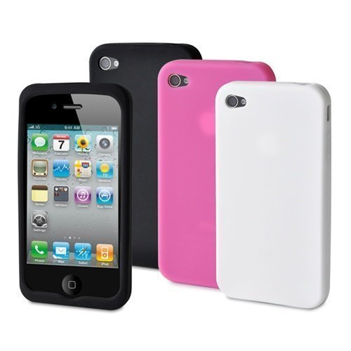 Muvit Silicon Cases for iPhone 4 Black White Pink