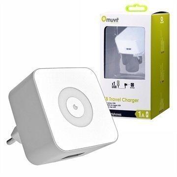 Muvit USB-Matkalaturi 1A Valkoinen