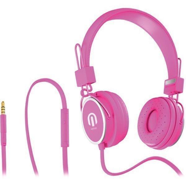 Native Sound NSH-1 over-ear headset litteä kaapeli1 5m vaal.pun