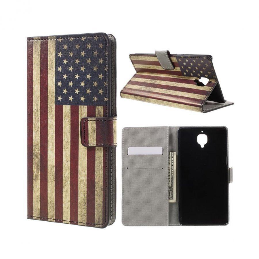 Nielsen Oneplus 3 Kuvioitu Nahkakotelo Lompakko Retro Amerikan Lippu