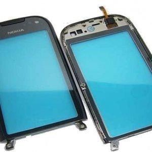 Nokia C7 Digitizer kosketuspaneeli kehyksellä