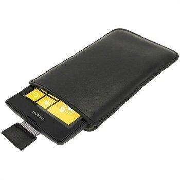 Nokia Lumia 520 Igadgitz Nahkainen Kotelo Musta