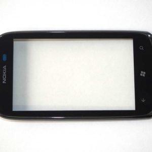Nokia Lumia 610 alkuperäinen kosketuspaneeli Digitizer mustalla kehyksellä