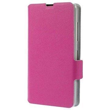 Nokia Lumia 630 Doormoon Wallet Nahkakotelo Kuuma Pinkki