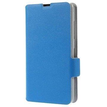 Nokia Lumia 630 Doormoon Wallet Nahkakotelo Sininen
