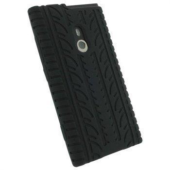Nokia Lumia 800 iGadgitz Rengaskuvioitu Silikonikotelo Musta