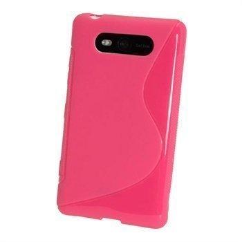 Nokia Lumia 820 iGadgitz Kaksivärinen TPU-Suojakotelo Tumma Pinkki