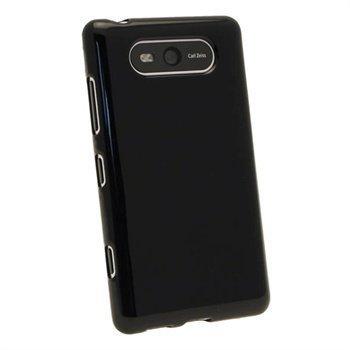 Nokia Lumia 820 iGadgitz Kiiltävä TPU-Suojakotelo Musta