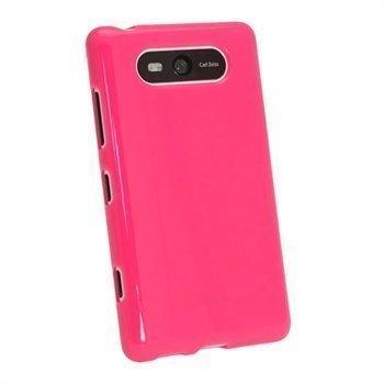 Nokia Lumia 820 iGadgitz Kiiltävä TPU-Suojakotelo Tumma Pinkki