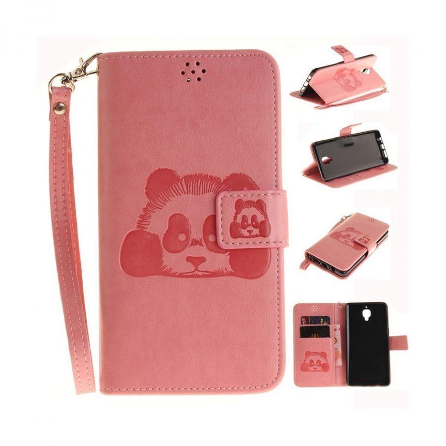 Oneplus 3t / 3 Panda Kuviollinen Nahkakotelo Korttitaskuilla Pinkki