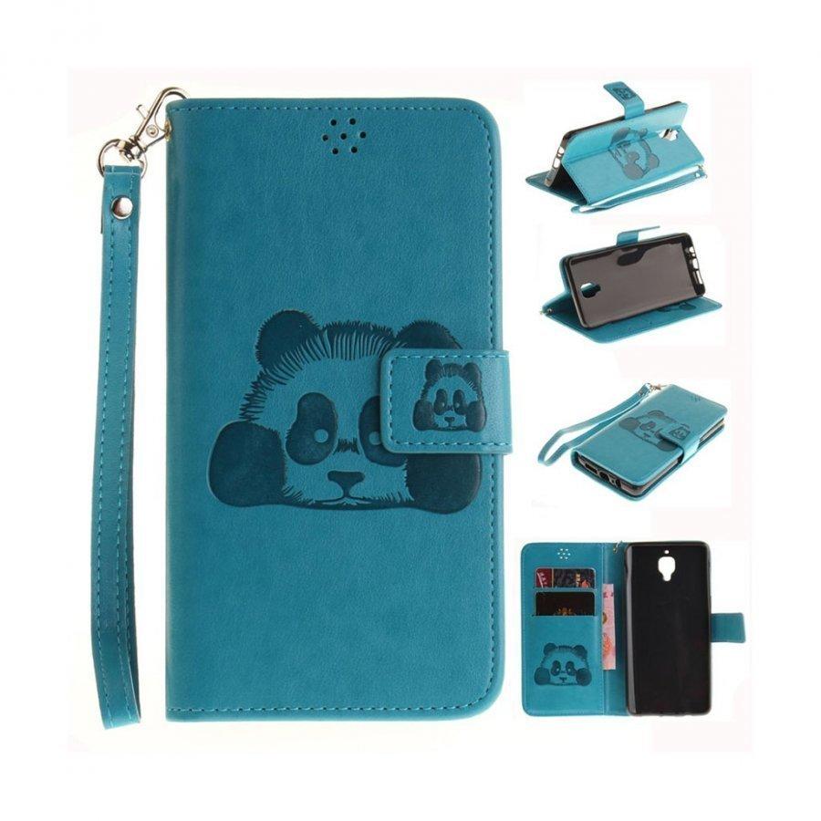 Oneplus 3t / 3 Panda Kuviollinen Nahkakotelo Korttitaskuilla Sininen