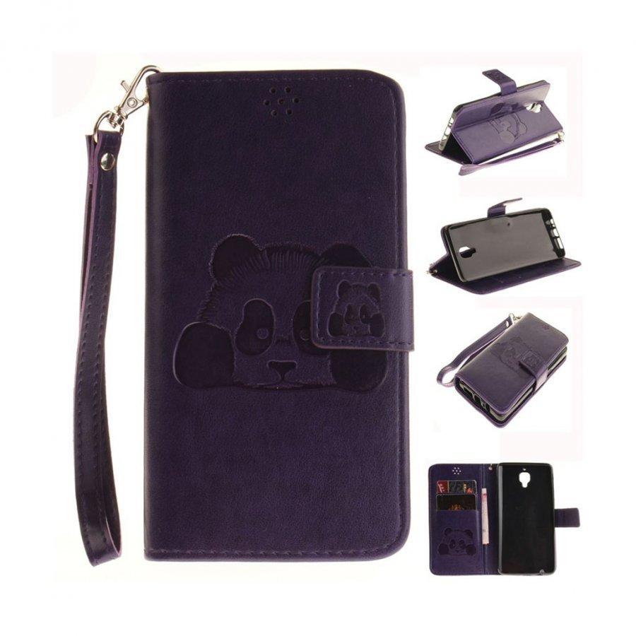 Oneplus 3t / 3 Panda Kuviollinen Nahkakotelo Korttitaskuilla Violetti