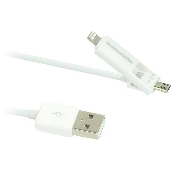 Promate LinkMate.Duo Monitoimi USB-latauskaapeli 1m valkoinen