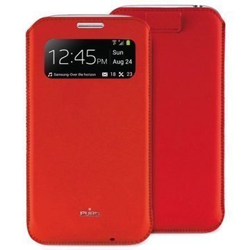Puro View Leather Case Samsung Galaxy S4 Mini I9190 I9192 I9195 Red