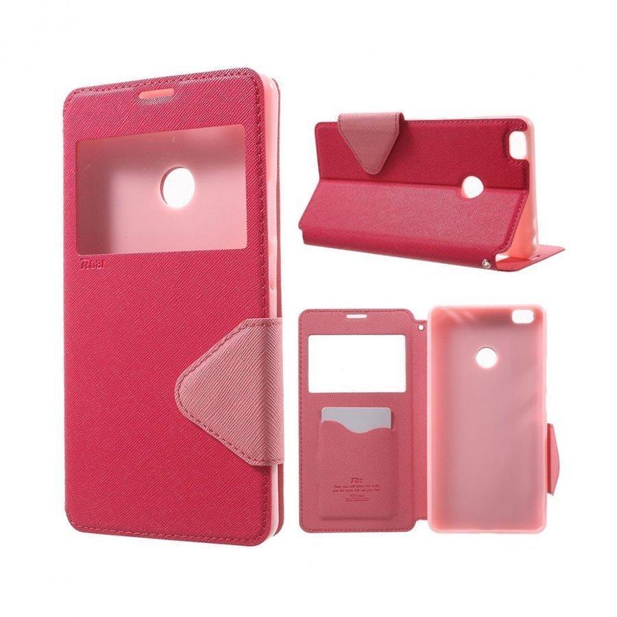Roar Korea Xiaomi Mi Max Nahkakotelo Ikkunalla Kuuma Pinkki