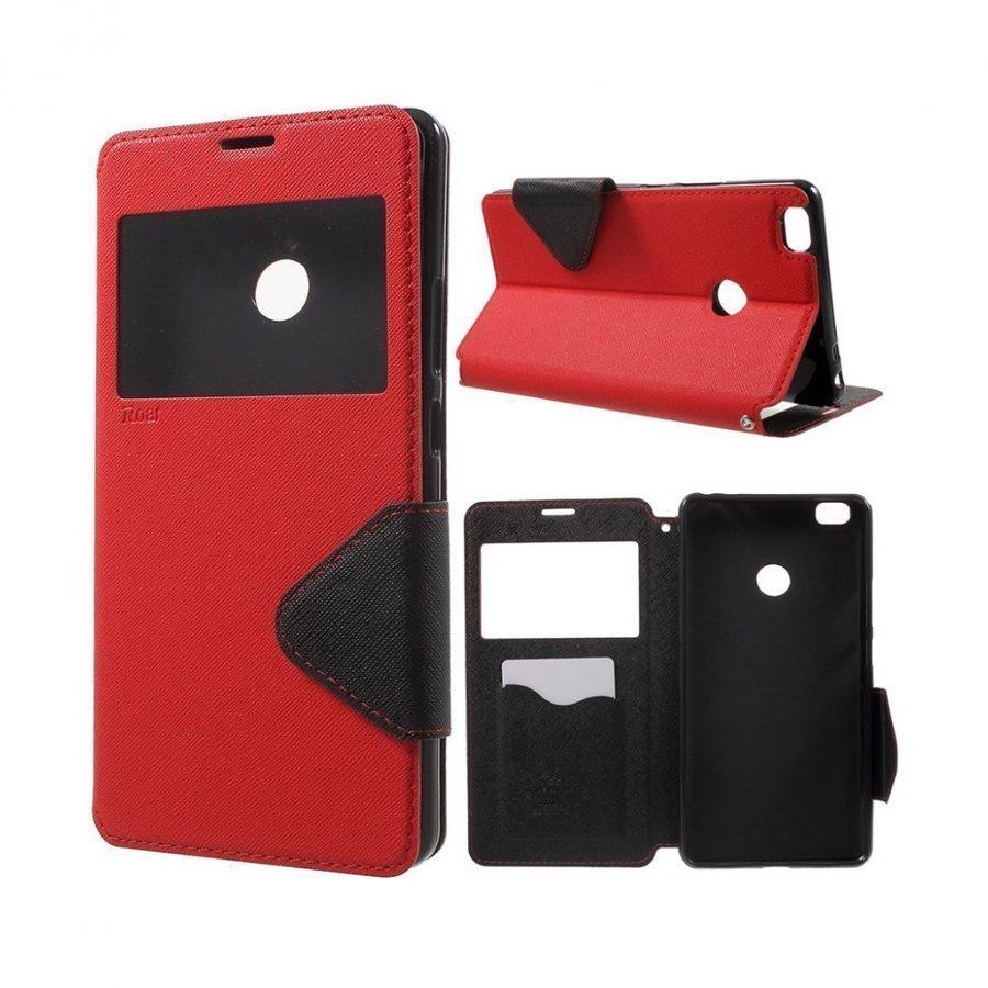 Roar Korea Xiaomi Mi Max Nahkakotelo Ikkunalla Punainen