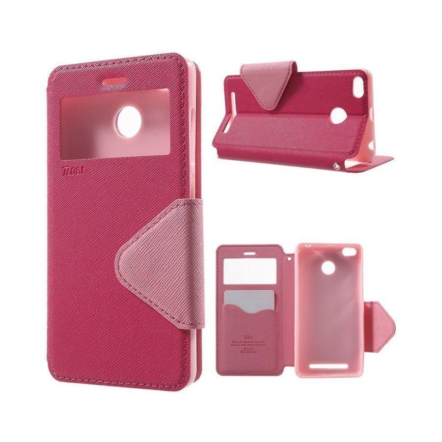 Roar Korea Xiaomi Redmi 3s Magneettinen Nahkakotelo Läpällä Kuuma Pinkki