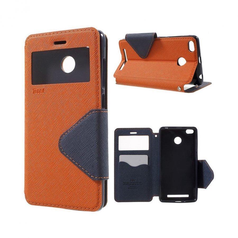 Roar Korea Xiaomi Redmi 3s Magneettinen Nahkakotelo Läpällä Oranssi