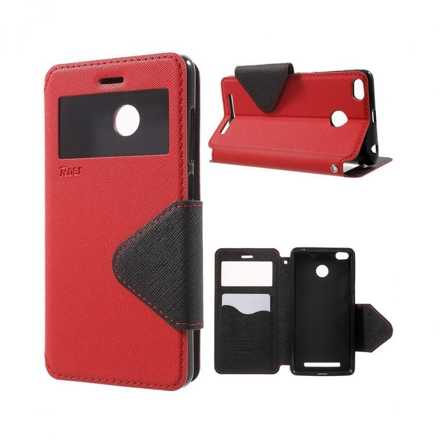 Roar Korea Xiaomi Redmi 3s Magneettinen Nahkakotelo Läpällä Punainen