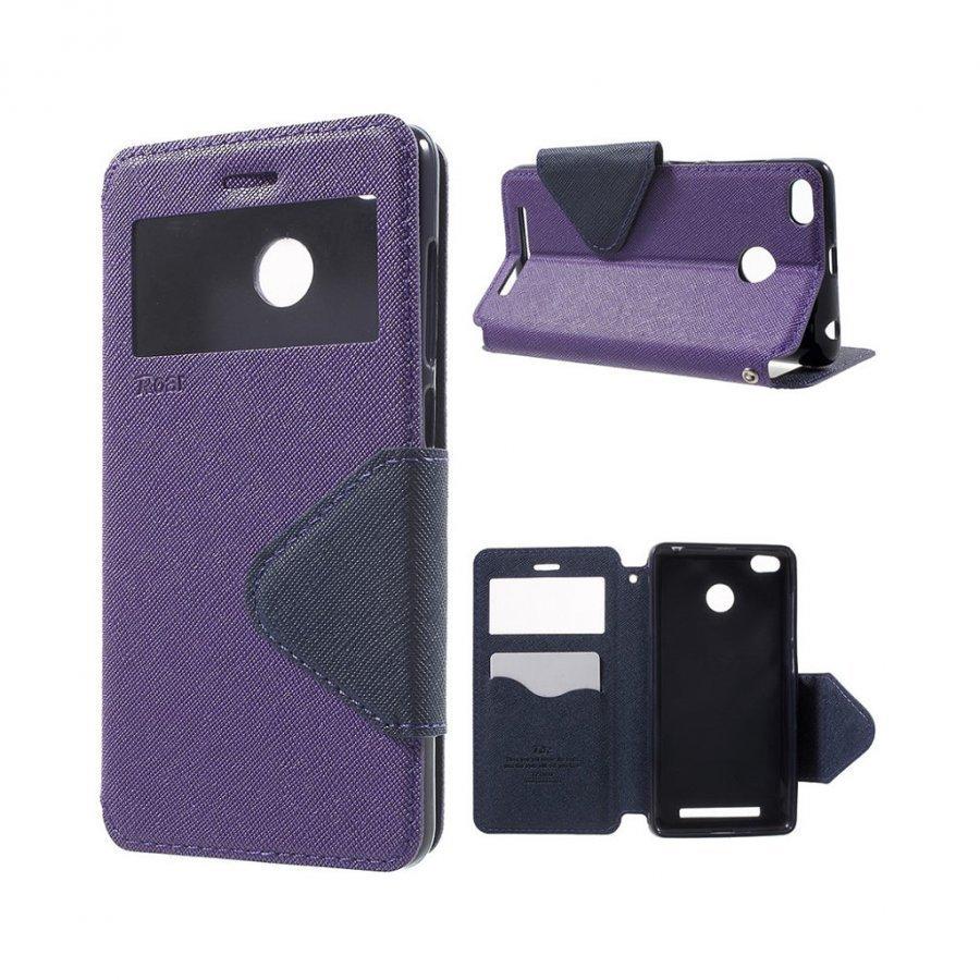 Roar Korea Xiaomi Redmi 3s Magneettinen Nahkakotelo Läpällä Violetti