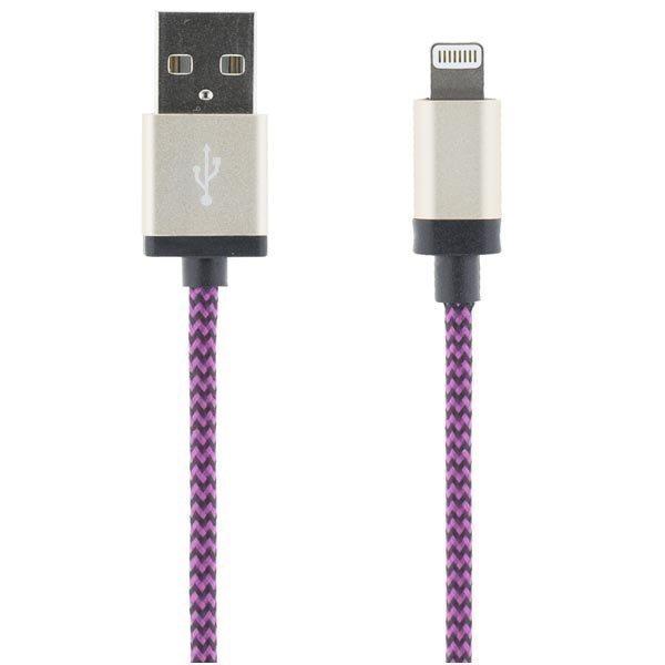 STREETZ USB-synk-/lalatauskaapeli iPod iPhone iPad MFI 1m lila