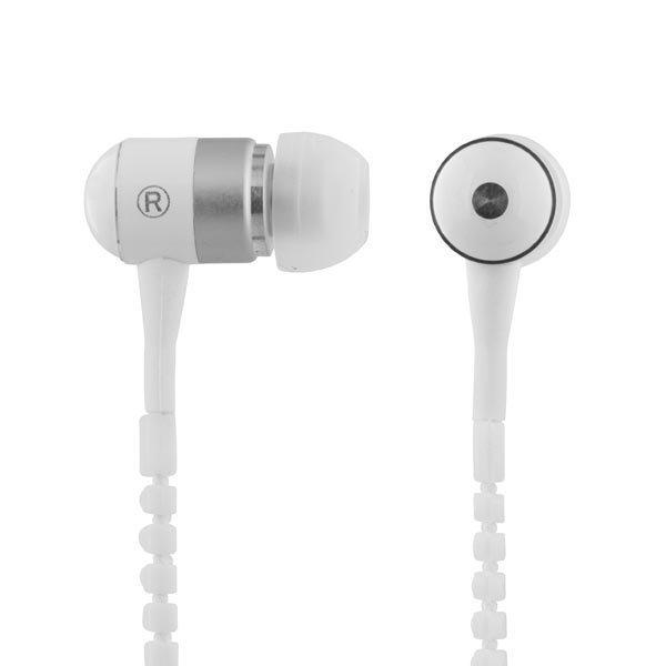 STREETZ Zipper in-ear headset mikrofoni vastauspainike 1 2m valk