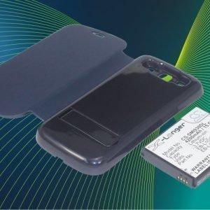 Samsung GT-I9300 GT-I9308 SGH-T999V Galaxy S3 yhteensopiva tehoakku sinisellä laajennetulla takakannella 4200 mAh