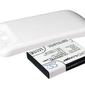 Samsung GT-I9300 GT-I9308 SGH-T999V Galaxy S3 yhteensopiva tehoakku valkoisella laajennetulla takakannella 3300 mAh
