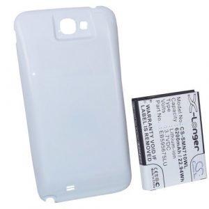 Samsung GT-N7100 GT-N7105 Galaxy Note II Galaxy Note 2 tehoakku 6200 mAh laajennetulla takakannella Valkoinen