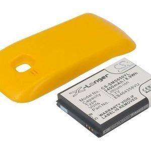 Samsung GT-S6500 GT-S6500D Galaxy Mini 2 yhteensopiva tehoakku keltaisella laajennetulla takakannella 2400 mAh