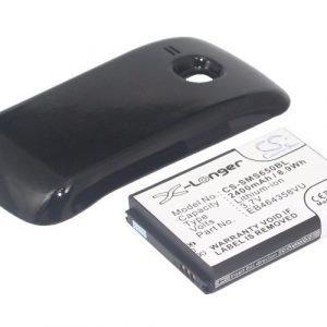 Samsung GT-S6500 GT-S6500D Galaxy Mini 2 yhteensopiva tehoakku mustalla laajennetulla takakannella 2400 mAh