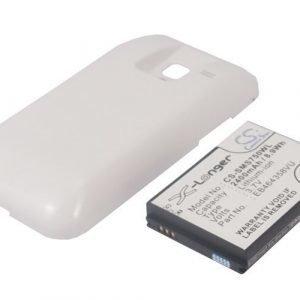 Samsung GT-S7500 Galaxy Ace Plus yhteensopiva tehoakku valkoisella laajennetulla takakannella 2400 mAh