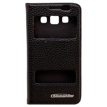 Samsung Galaxy A3 Commander Double Window Läpällinen Nahkakotelo Musta