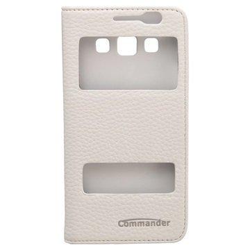 Samsung Galaxy A3 Commander Double Window Läpällinen Nahkakotelo Valkoinen