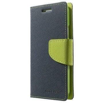 Samsung Galaxy A3 Mercury Goospery Fancy Diary lompakkokotelo Tummansininen / Vihreä
